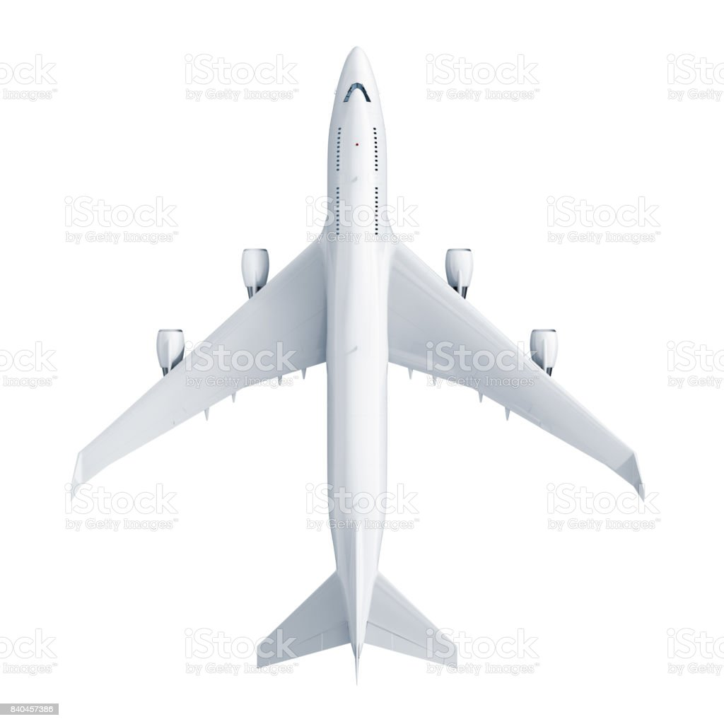 Airplane isolated on white background stock photo