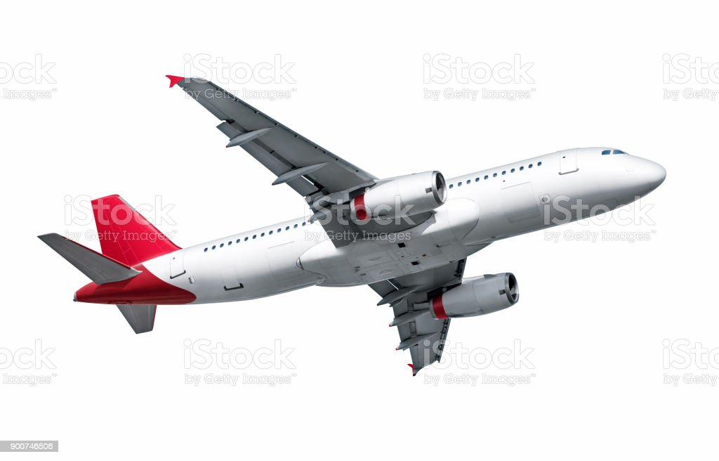 Airplane isolated on white background stock photo