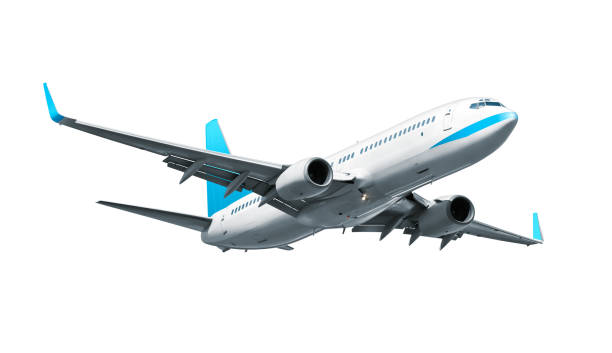 avión aislado sobre fondo blanco - avión fotografías e imágenes de stock