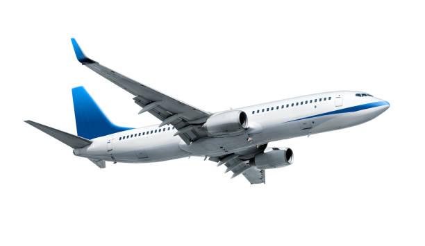 飛行機白で分離 - 飛行機 ストックフォトと画像