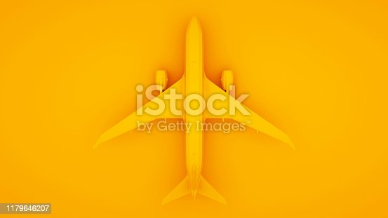 istock Airplane, isolated on yellow background. 3d Illustration 1179646207