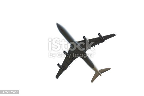 Large Airliner isolated on white. View from below.