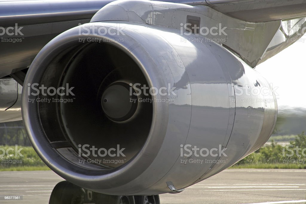 Airplane Jet Engine Start royalty-free stock photo