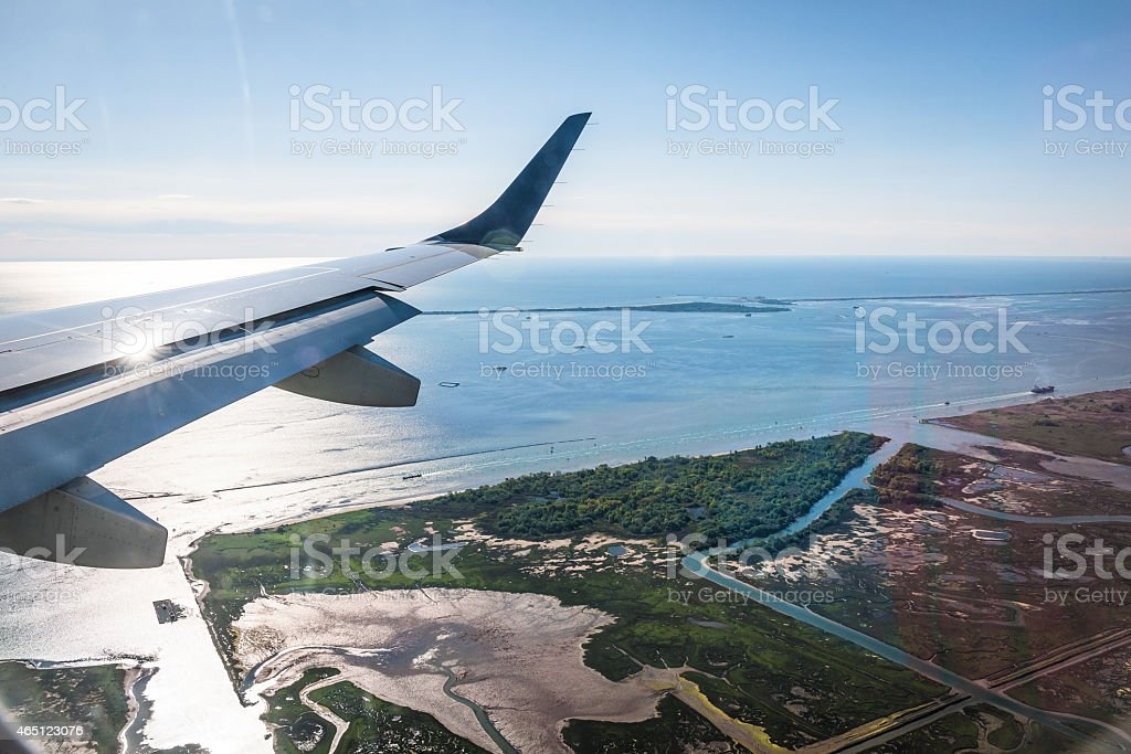 Airplane just before landing Marco Polo Airport,Venice  Italy Europe stock photo