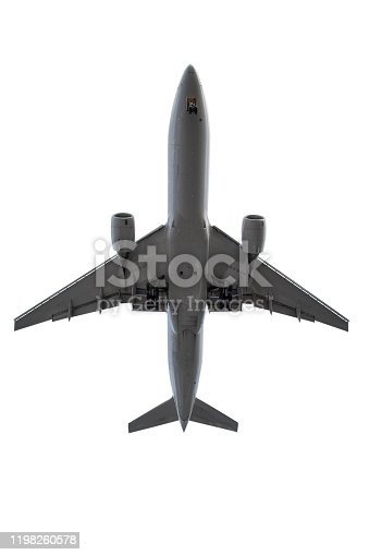 Airplane - landing approach, directly below - isolated on white, clipping path included