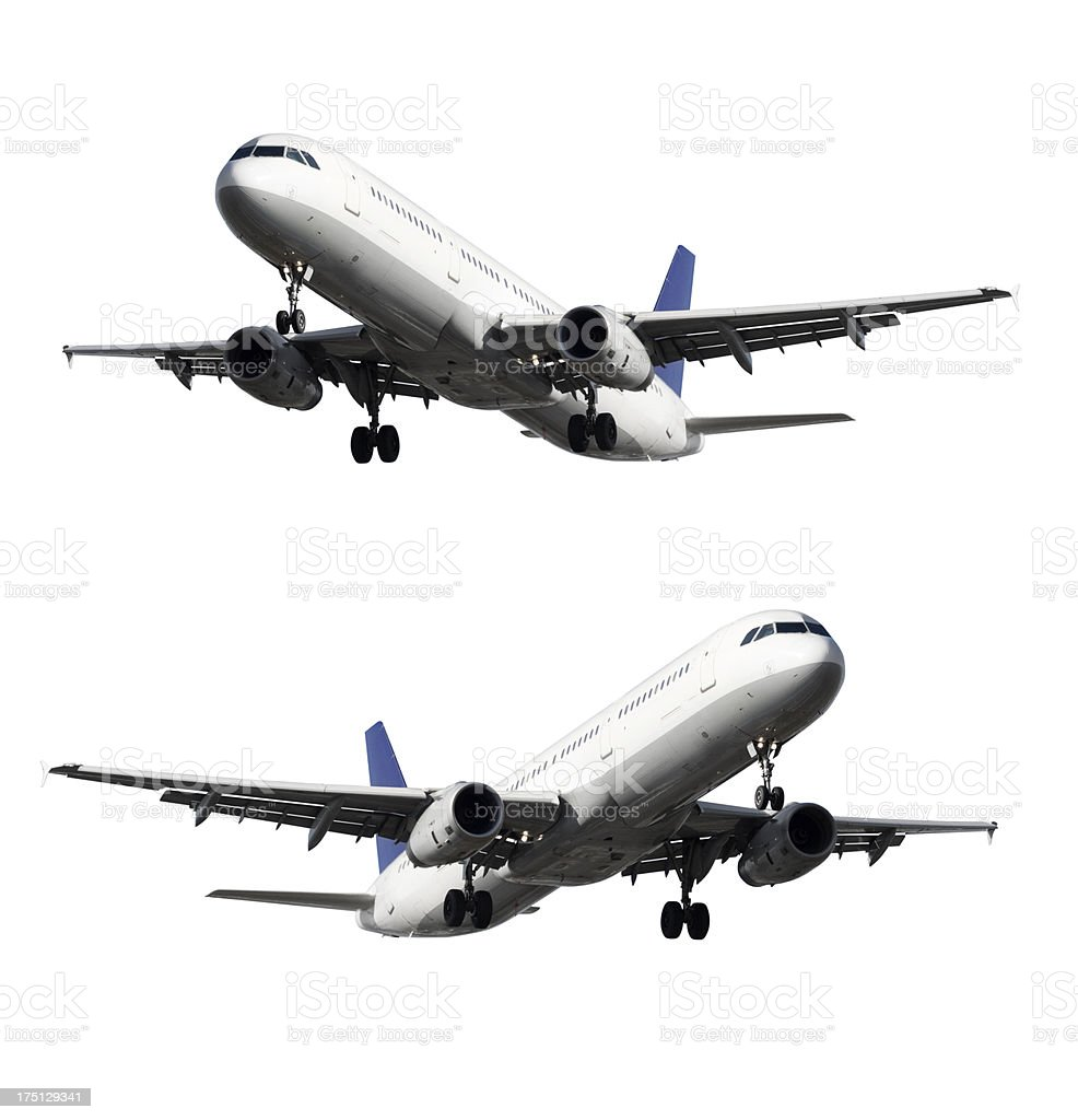 Airplane, landing approach, isolated on white royalty-free stock photo