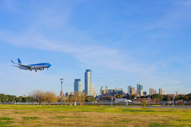 Airplane landing in Buenos Aires stock photo