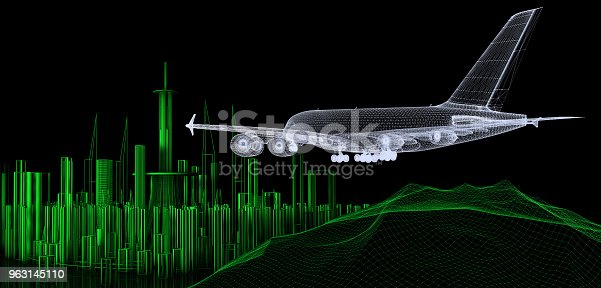 istock Airplane Landing on The Cityscape 963145110