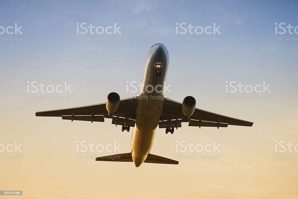 Airplane landing royalty-free stock photo