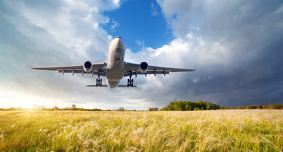 istock Airplane. Landscape with big white passenger airplane is flying in the blue sky over yellow grass field at colorful sunset in summer. Passenger airplane is landing. Business trip. Commercial aircraft 816320504