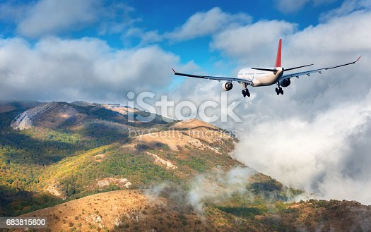 816320512 istock photo Airplane. Landscape with white passenger airplane is flying over the mountains, green forest and clouds at sunset. Journey. Passenger airliner is landing. Business trip. Commercial plane 683815600