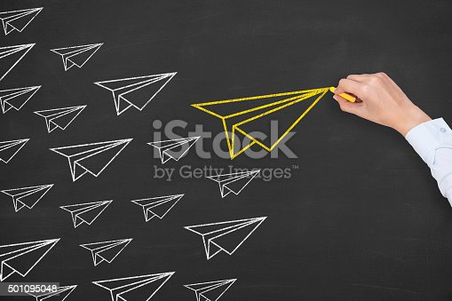 istock Airplane Leadership Concept on Blackboard 501095048