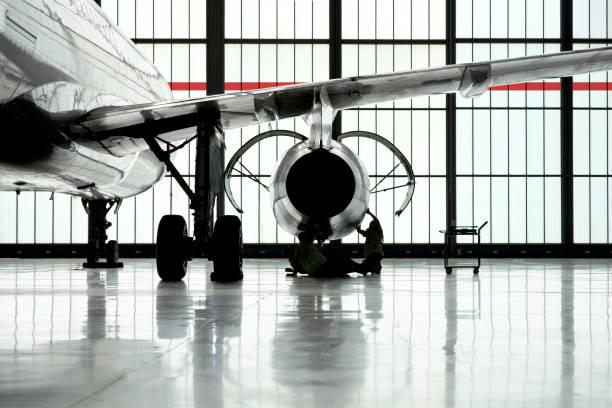Airplane maintenance stock photo