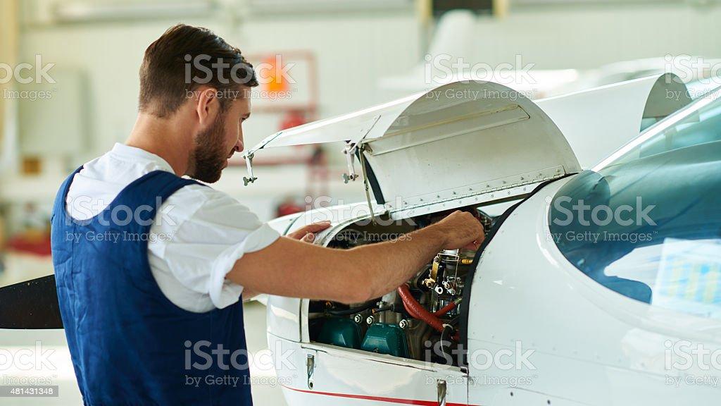 Airplane mechanic stock photo