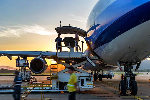 Airplane near terminal stock photo