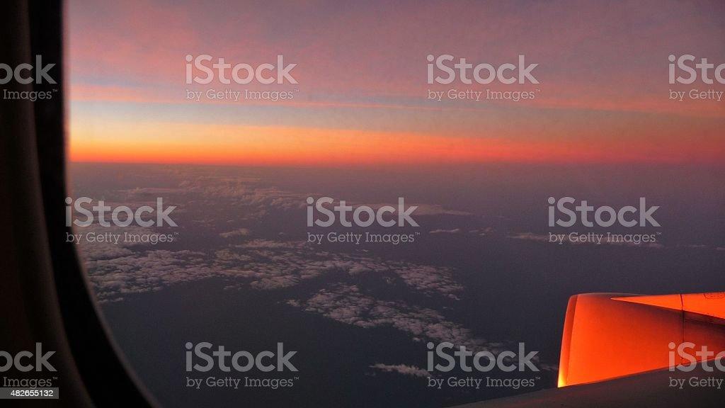 Airplane night view 02 stock photo