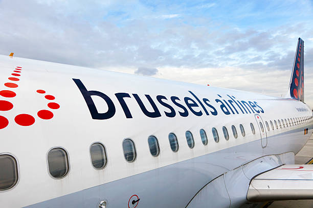 Airplane of Brussels airlines company is ready to takeoff stock photo