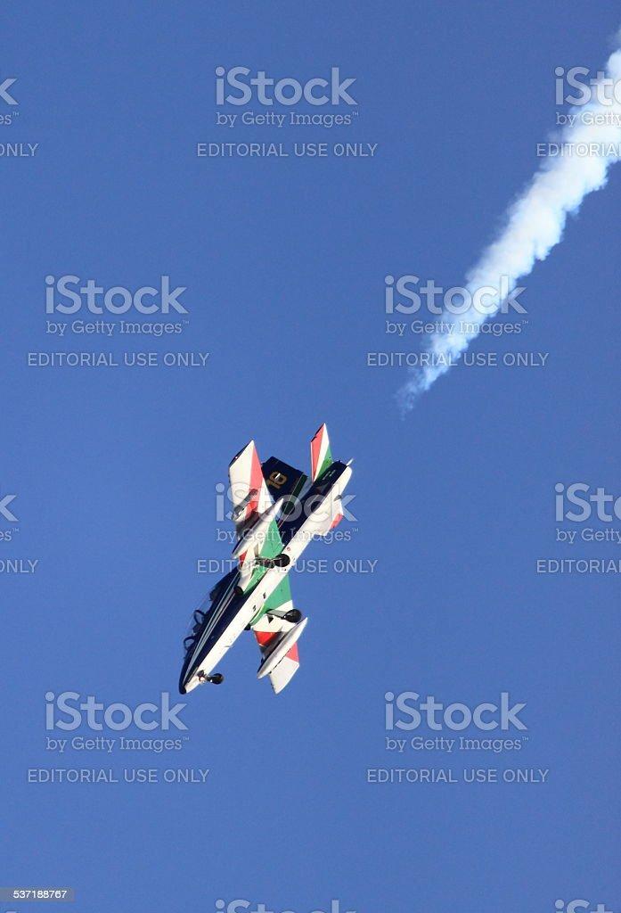 MB-339 airplane of the Frecce Tricolori stock photo