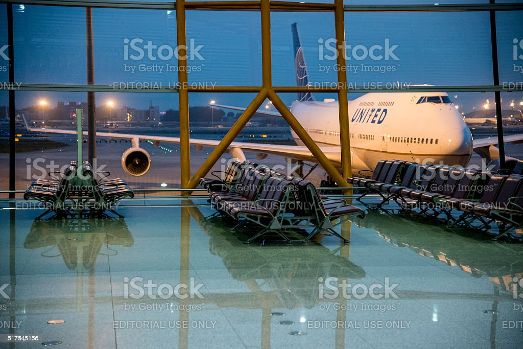 Airplane on Beijing International Airport stock photo