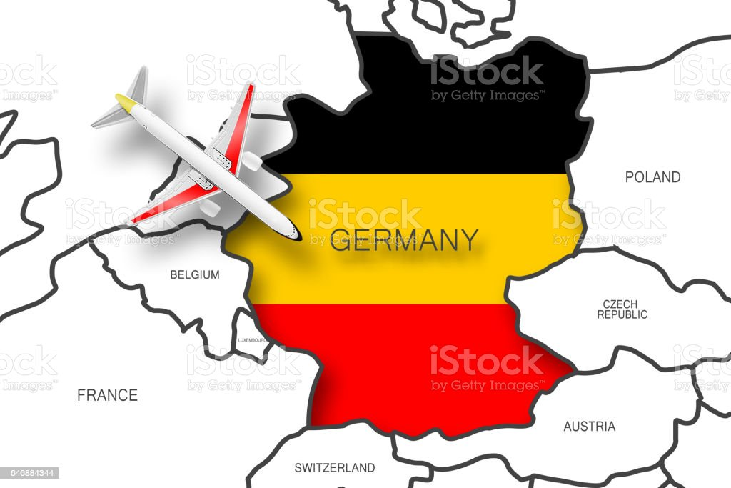 Airplane on Europe map stock photo