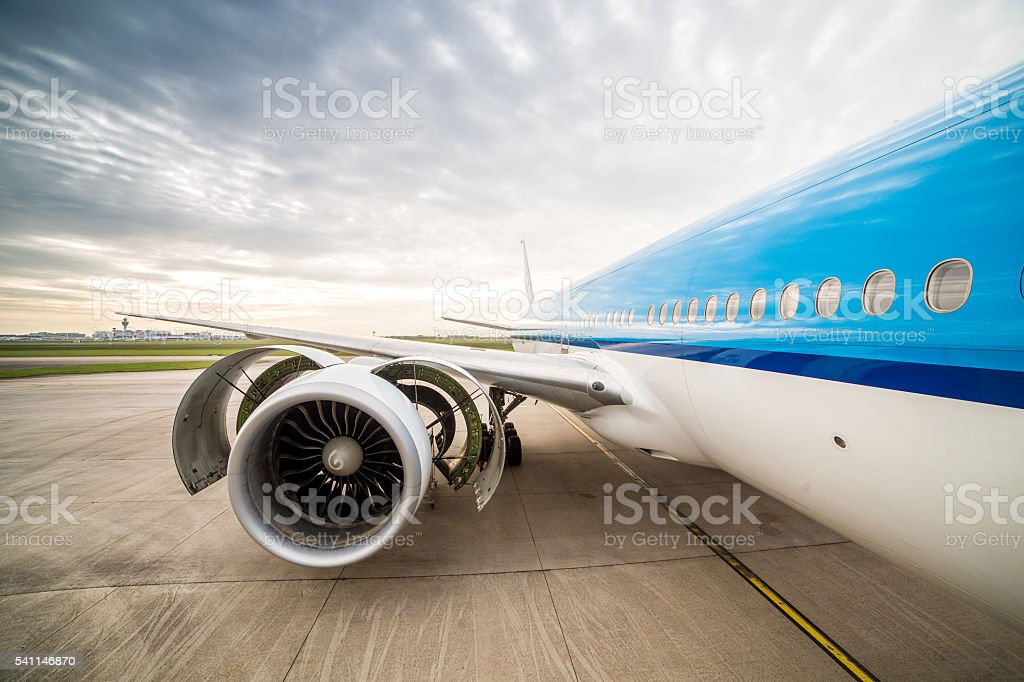 Airplane on the airport. stock photo