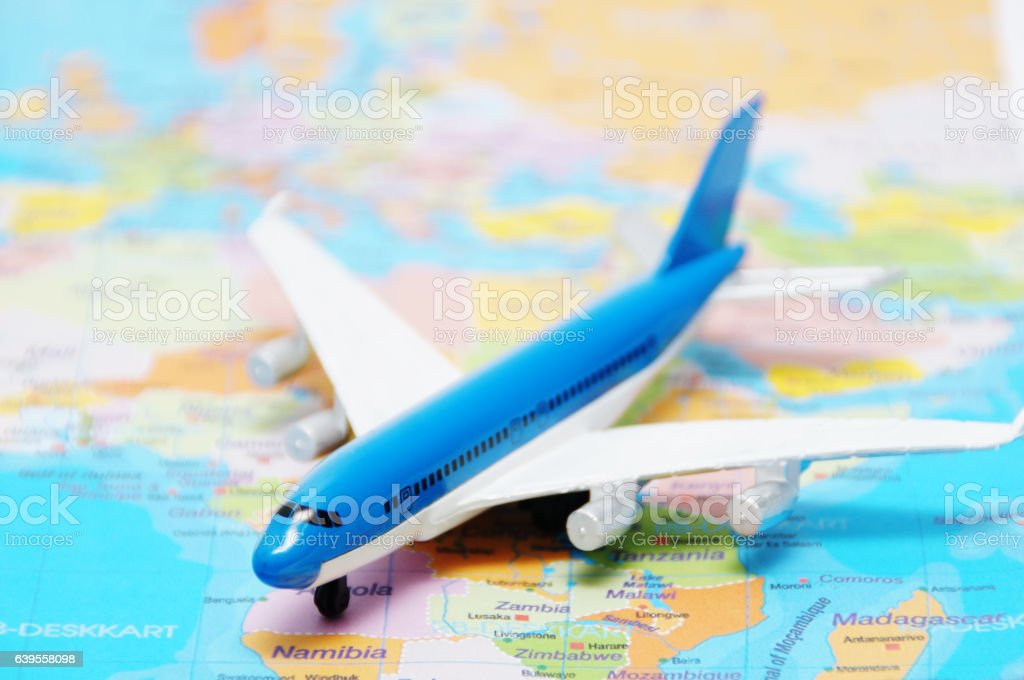 airplane on the map stock photo