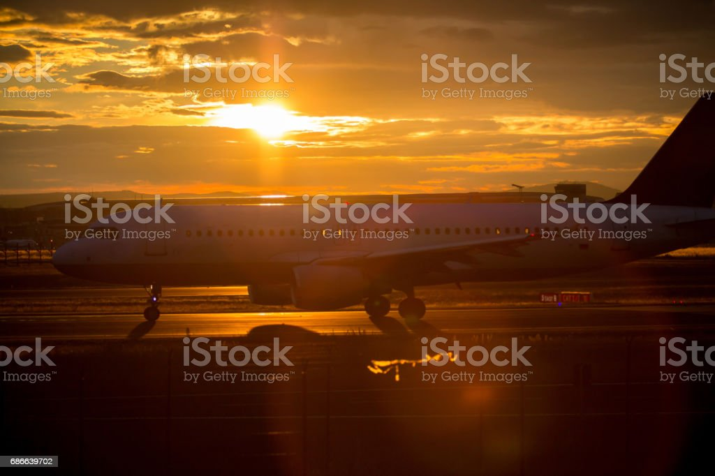 Airplane on the runway royalty-free stock photo