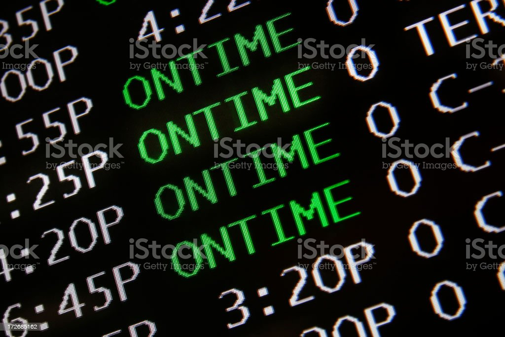Airplane on time royalty-free stock photo