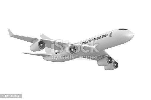 istock airplane on white background. Isolated 3D illustration 1157967047