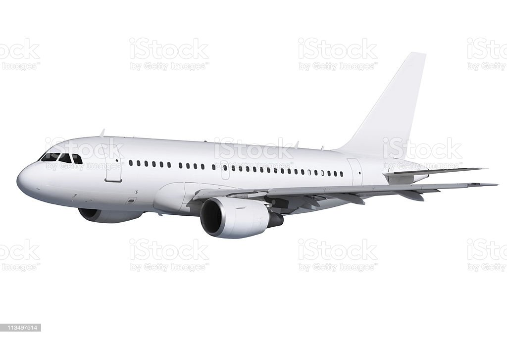 airplane on white with path stock photo