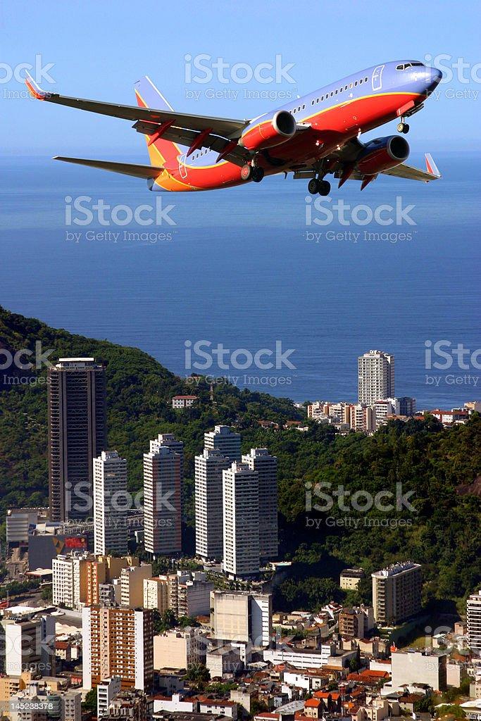 Airplane over Ipanema beach in Brazil royalty-free stock photo