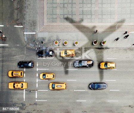 istock Airplane over New York City 847168036