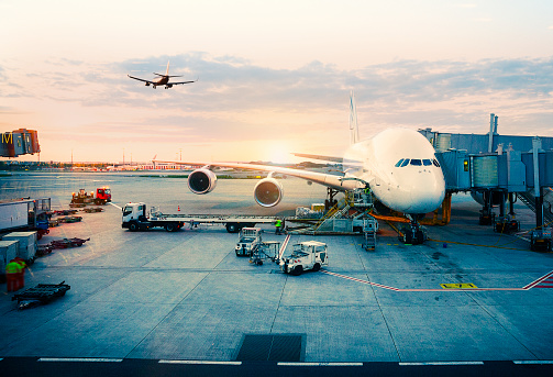 View of airplane at the airport at sunrise. Paris, France
