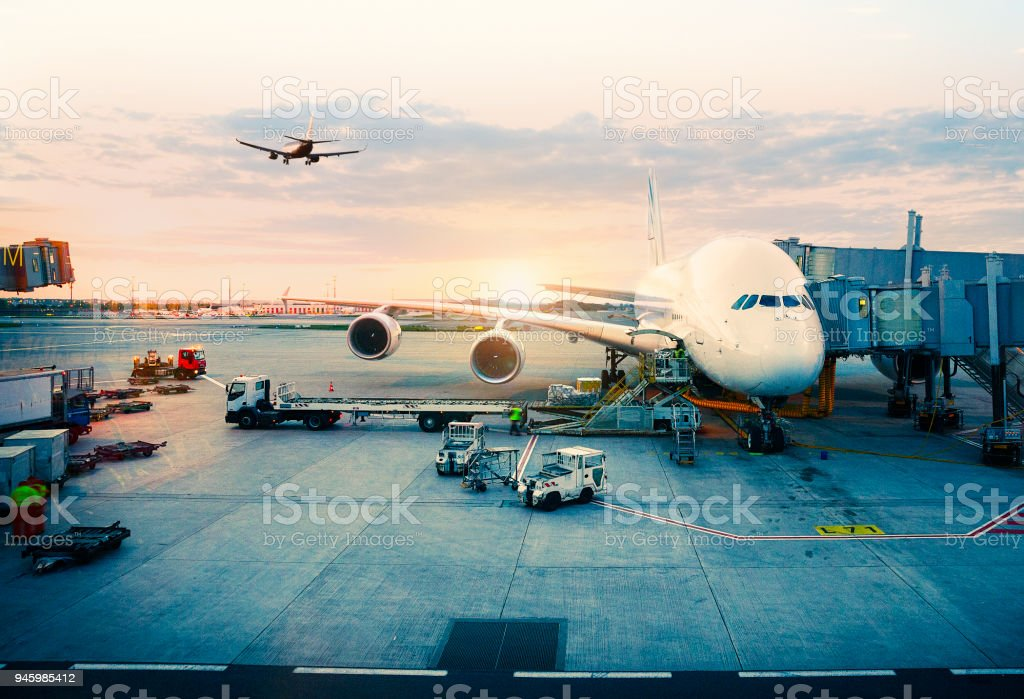 Airplane parked at paris International Airport stock photo