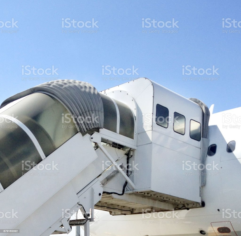 Airplane Passenger Entry stock photo