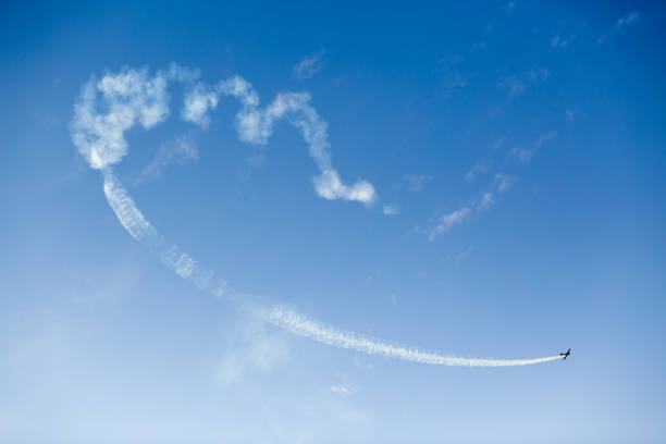 Airplane performing flight at airshow stock photo