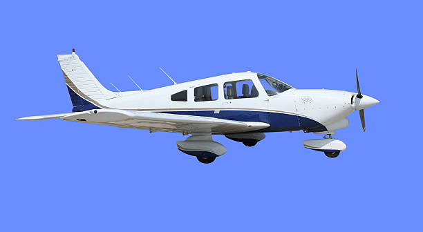 Airplane Small airplane isolated on blue. propeller stock pictures, royalty-free photos & images