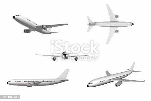 Airplane in different perspectives isolated on white. Very hi res file (15.000 x 10.000 pixel).