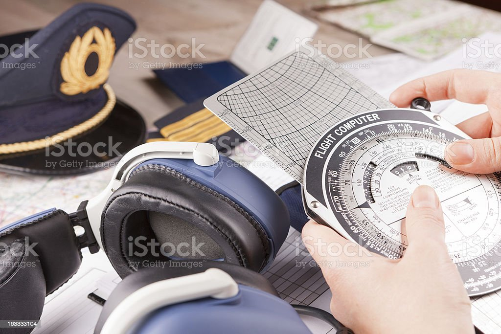 Airplane pilot equipment royalty-free stock photo