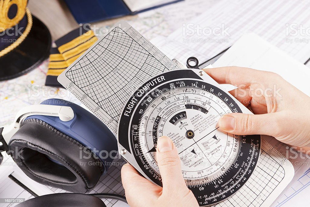 Airplane pilot equipment stock photo