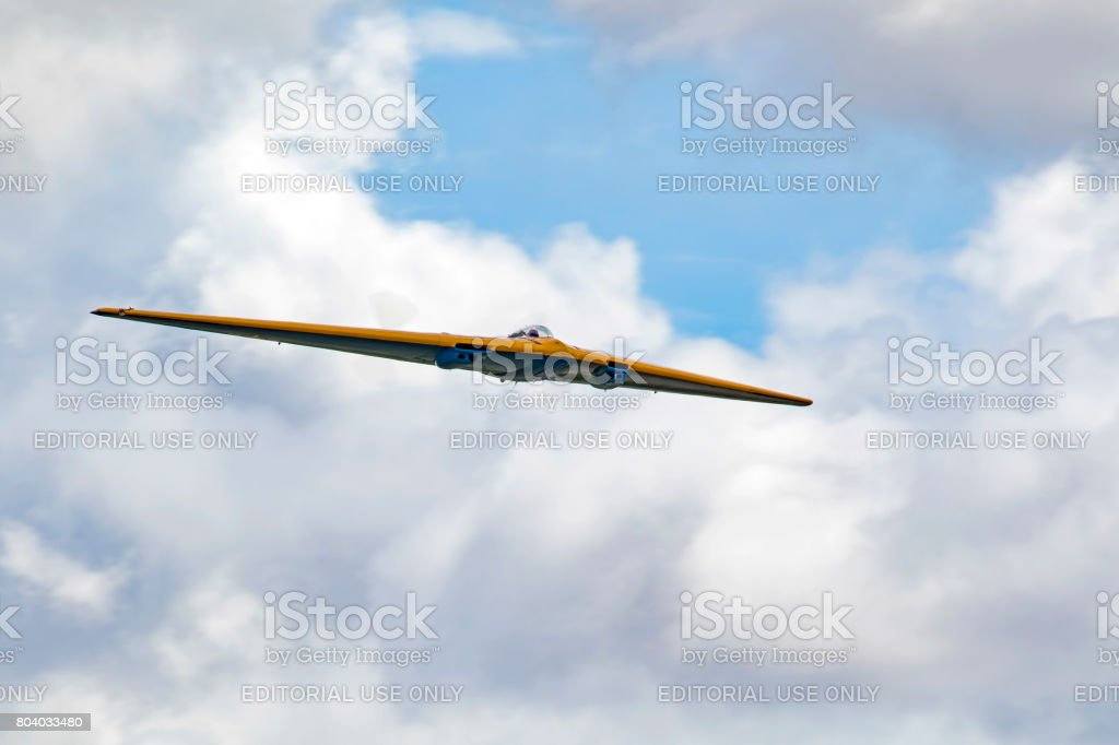 Airplane Planes of Fame N-9MB Flying Wing flying at air show stock photo