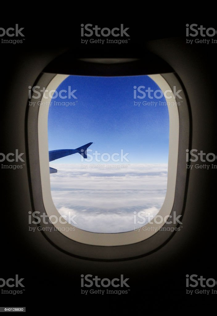 Airplane porthole view stock photo