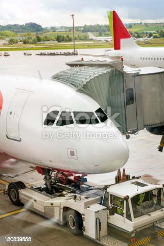 istock Airplane prepared for flight 180839558