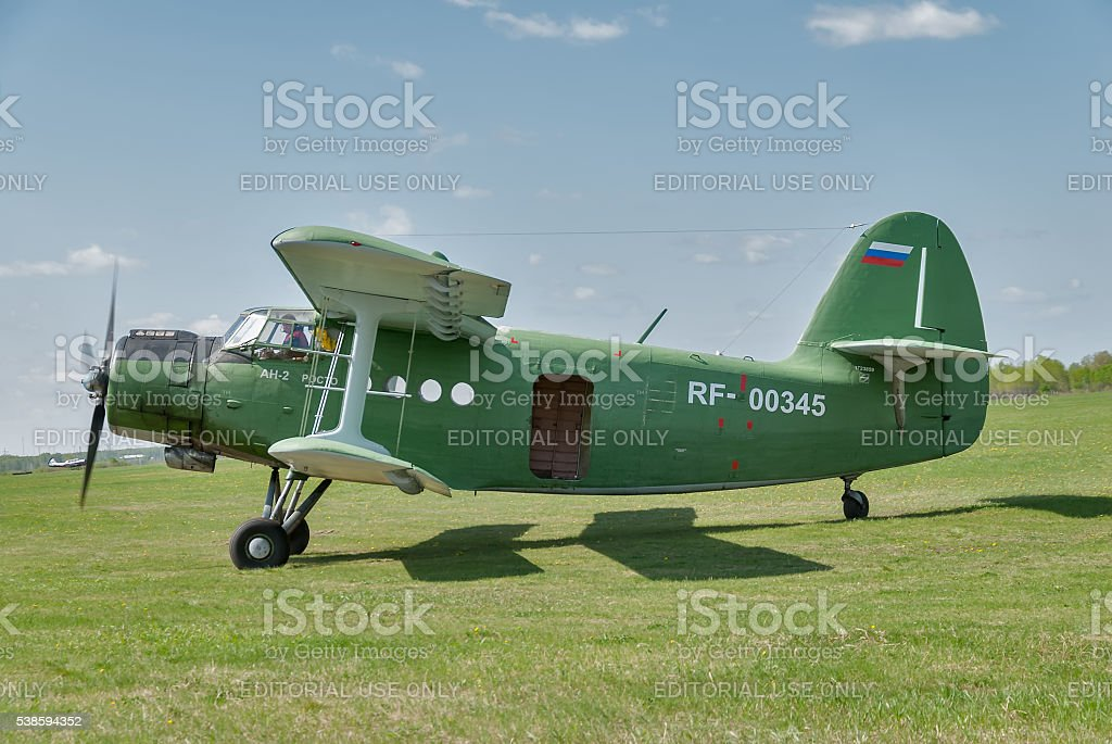 AN-2 airplane prepares for take-off stock photo