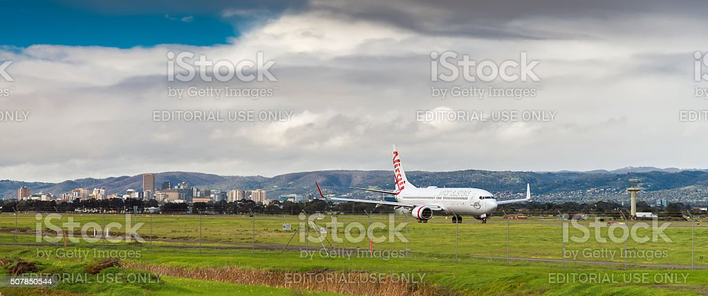 Airplane ready to take in Adelaide airport stock photo