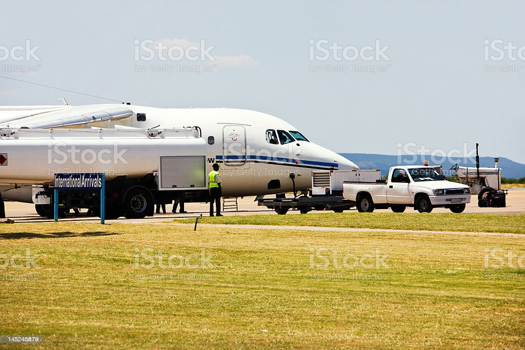Airplane refuel royalty-free stock photo