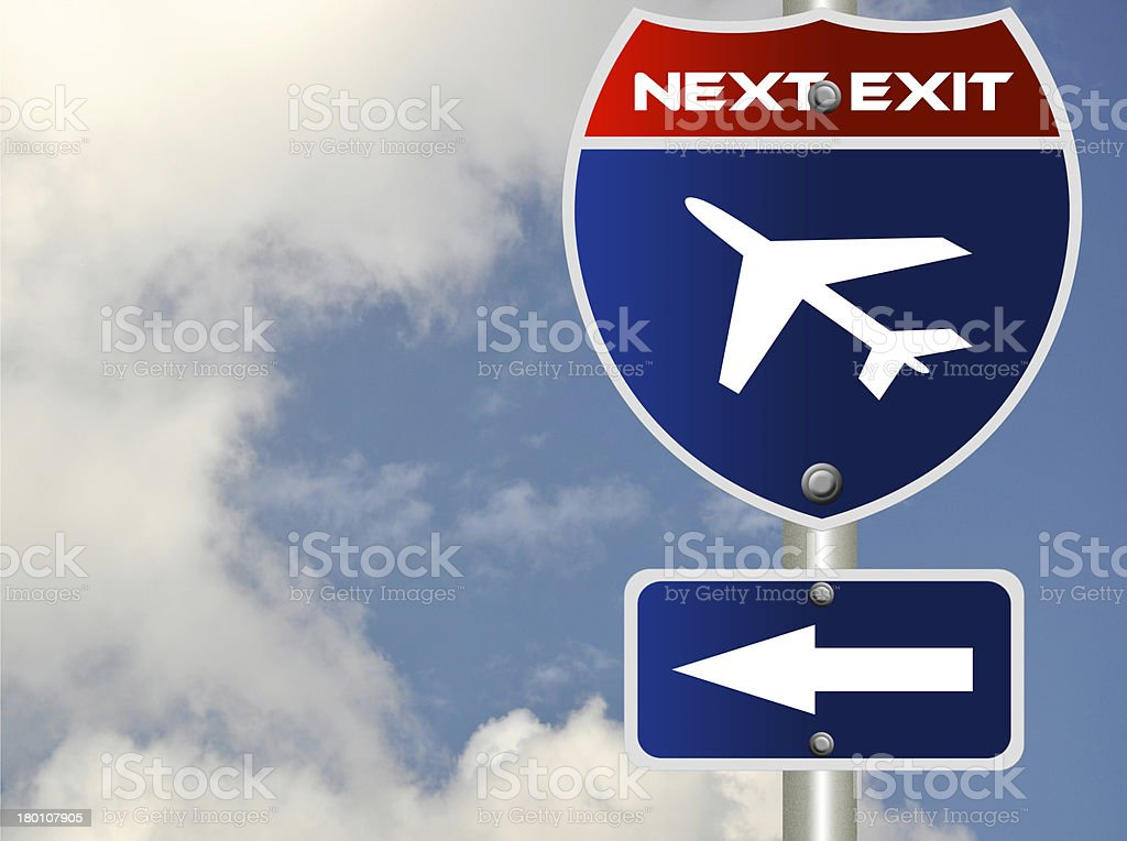 Airplane road sign royalty-free stock photo