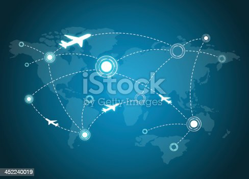 istock Airplane Routes on world map 452240019