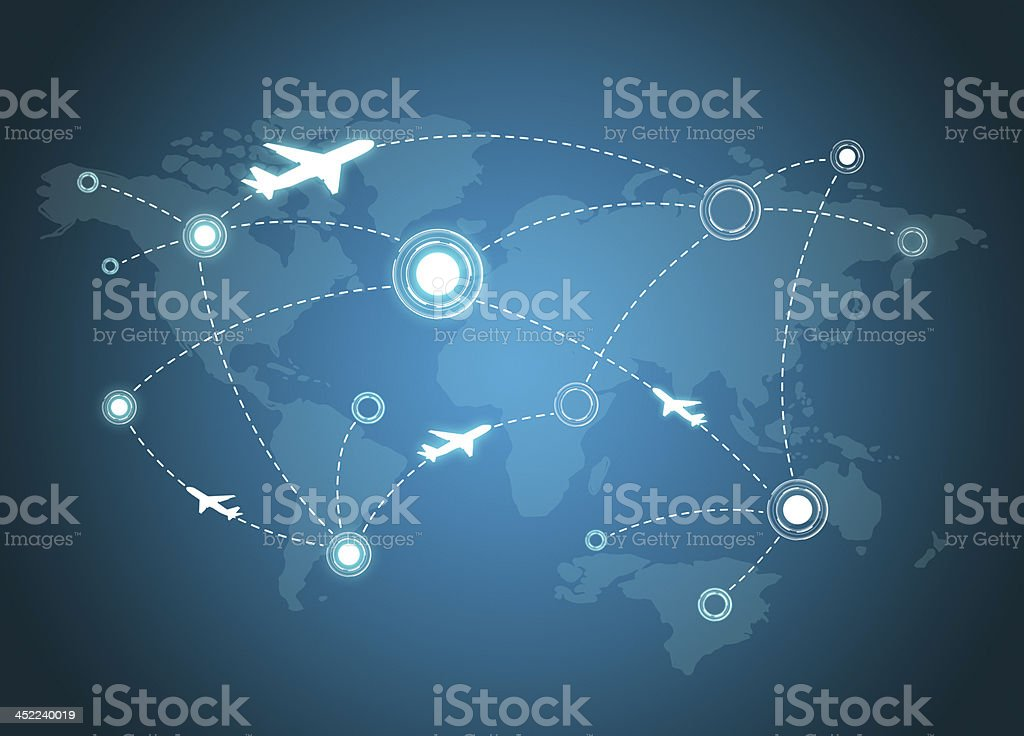 Airplane Routes on world map stock photo