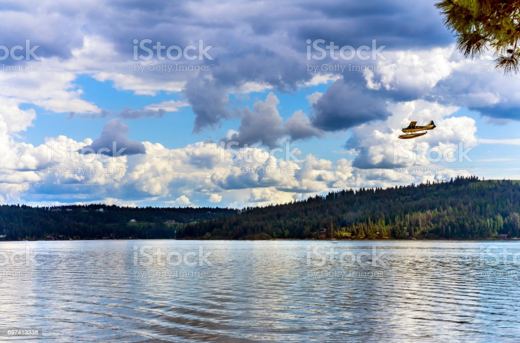 Airplane Seaplane Reflection Lake Coeur d' Alene Idaho stock photo